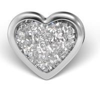 Náušnice-Srdce s glitry v bílé fazetě (225)