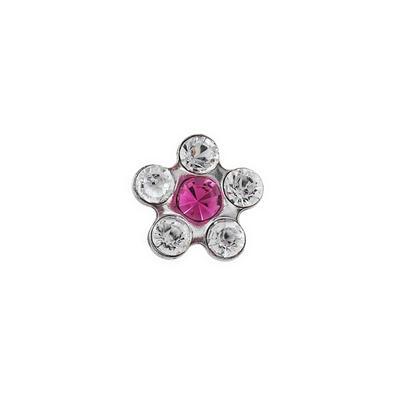 Náušnice-Kytička růžová/bílý krystal (157)  - 1