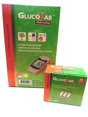 Testovací proužky Glucolab (50ks) + glukometr ZDARMA