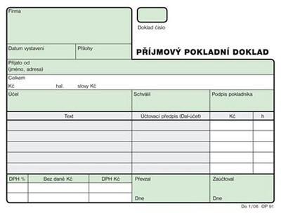 Příjmový pokladní doklad NCR červ.  - 1