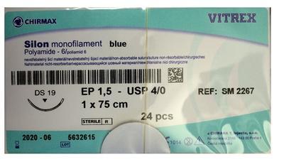 Silon monof.bl. DS 19mm 4/0 (1,5EP) 45 cm  - 1