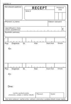 Recept - volné listy / 500 ks - krabička  - 2