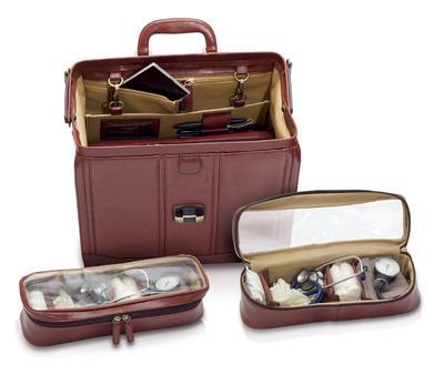 EB-tradiční taška lékařská, hnědá  kůže  - 3